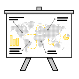 Awareness training illustration showing a presentation with map and charts