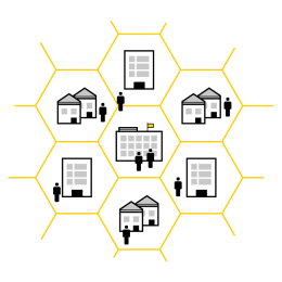 Resilience building illustration showing connected web of organisations and people
