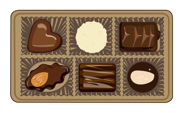 Illustration showing all six chocolates in our chocolate box rating system