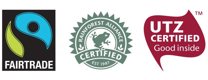 Fairtrade, Rainforest Alliance and UTZ Certified ethical certification logos