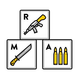 Child soldiers illustration showing various weapons on wooden ABC blocks