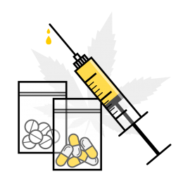 Drug trade illustration showing various types of narcotics