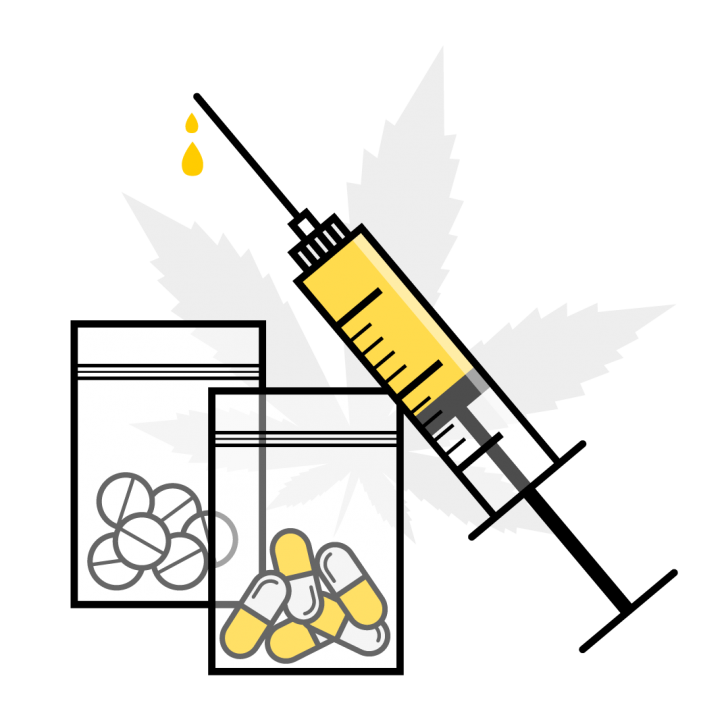 Drug trade illustration showing various types of narcotics