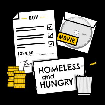 Forced criminality illustration showing fake DVD, benefits paperwork and begging sign