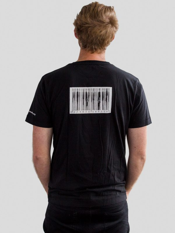 Reverse of mens black t-shirt with barcode design