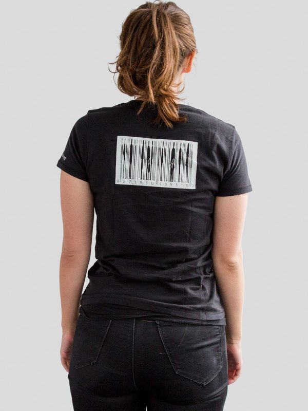 Reverse of womens black t-shirt with barcode design