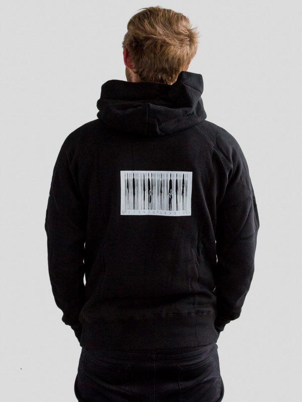 Reverse of mens black hoody with barcode design