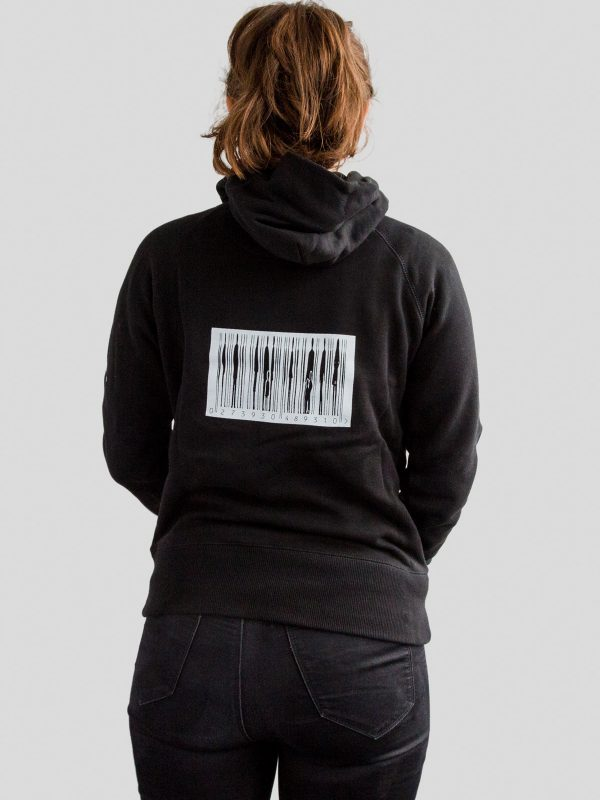 Reverse of womens black hoody with barcode design