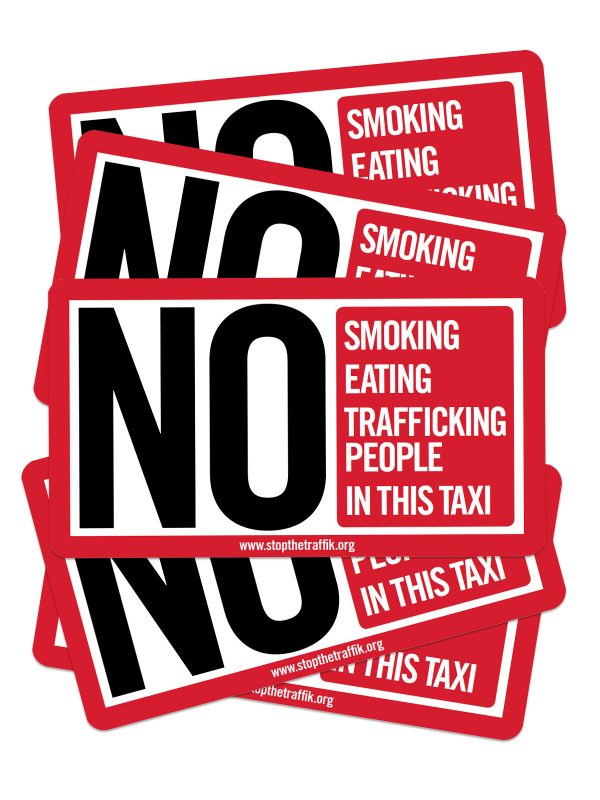Taxis against trafficking sticker for taxi drivers