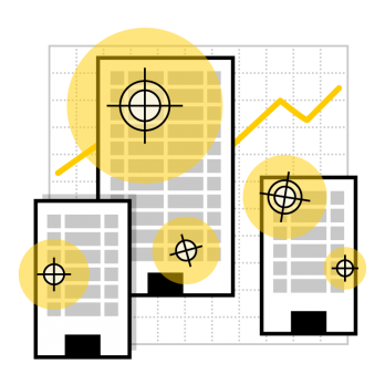 Business risk analysis illustration showing buildings with targets on them